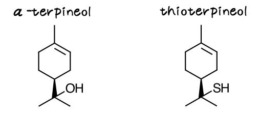 テルピネオールとチオテルピネオール